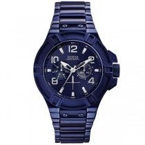 GUESS Sporty Men's Multifunction Blue Stainless Steel Bracelet W0041G2