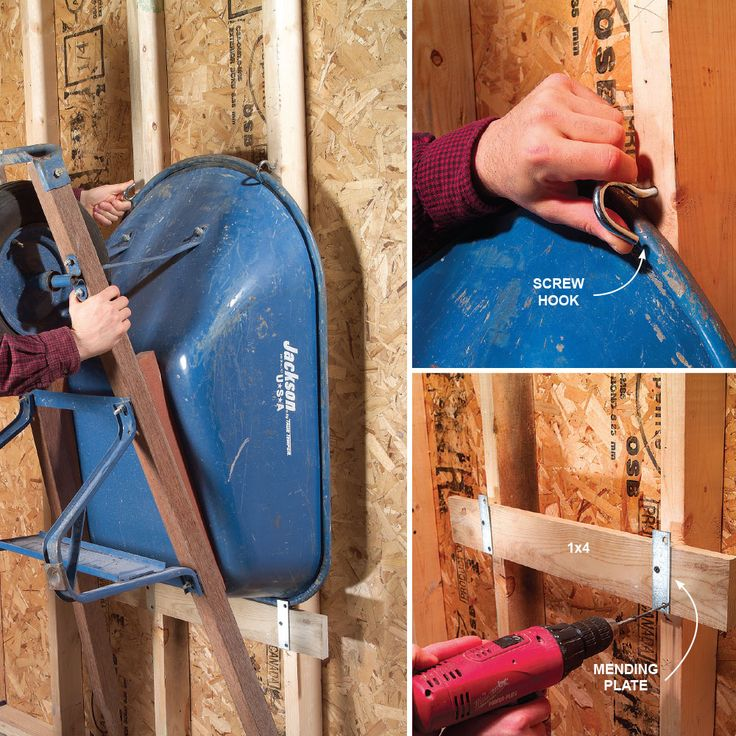 Don't waste floor space on your wheelbarrow—hang it on the wall. Special hardware is available at some home centers, but you can easily build it yourself. Substitute a scrap of 1x4, a pair of mending plates and screw hooks that act as latches. Then you can easily lock the wheelbarrow against the wall.