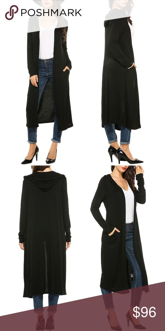 Long Open Front Hoodie Maxi Knit Cardigan Pockets This maxi length knit cardigan is cozy without being bulky. Cute hoodie style with pockets! Open front.  Available in black, chocolate, charcoal, navy, soft white, plum, burgundy, and bright white.  Sizes XS, S, M, L, XL/1X, XXL/2X  ❌ Sorry, no trades.  fairlygirly fairlygirly Sweaters Cardigans