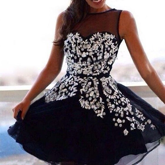Black Patchwork Grenadine Embroidery Sleeveless Dress