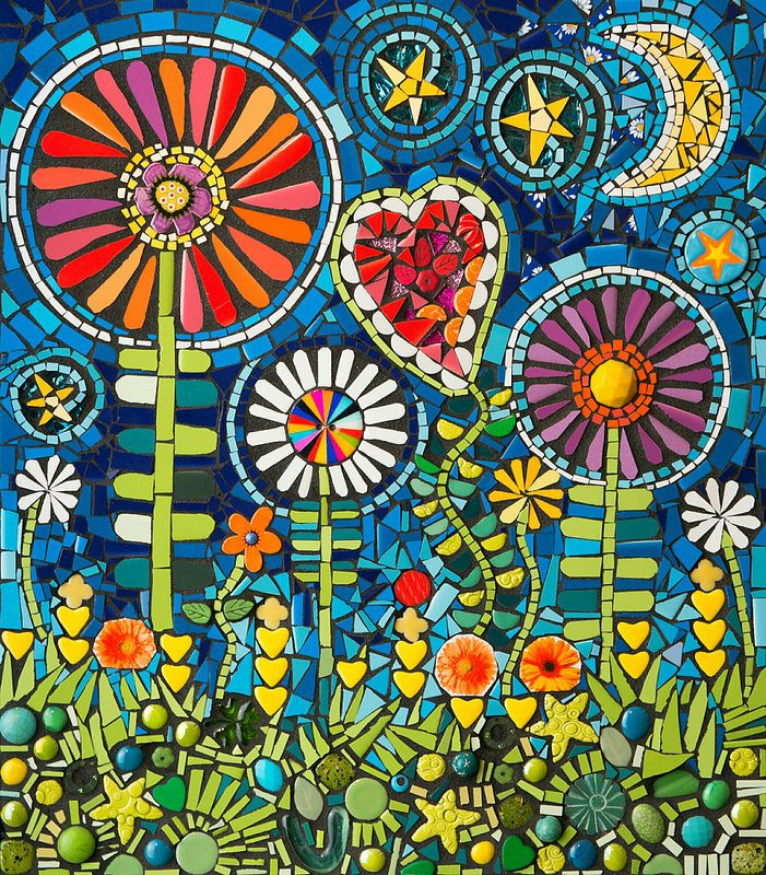 """Kate's Garden"" Mixed media mosaic by Flair Robinson. 14""x 16"" ceramic tile and glass with mixed media."