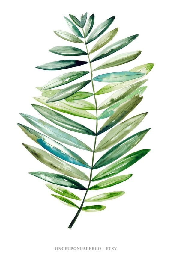 Tropical Leaf Print Gift For Her Botanical Art In Watercolour