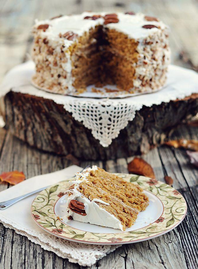 caramel pumkin italian cream cake- Mississippi Kitchen