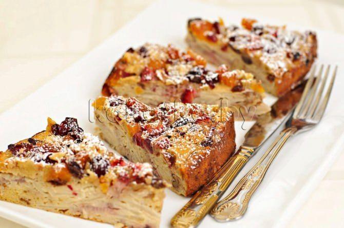 Рецепт пирога с геркулесом орехами сухофруктами и печеньем