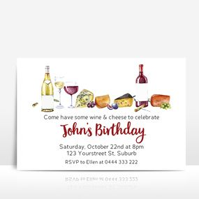 Wine and cheese men's birthday invitation