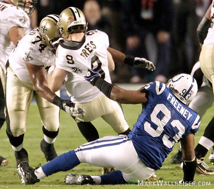New Orleans Saints defensive end Dwight Freeney (93) sacks Saints quarterback Drew Brees (