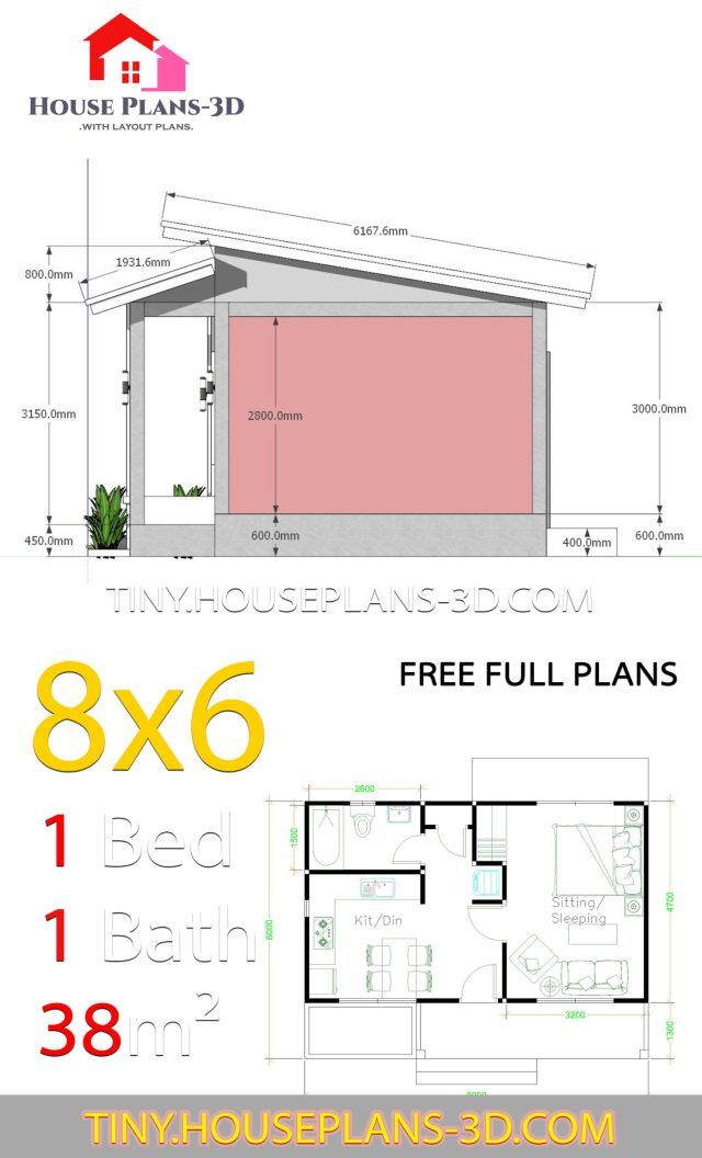 Small House Plans 8x6 With One Bedrooms Shed Roof Tiny House Plans House Plans Small House Plans Micro House Plans