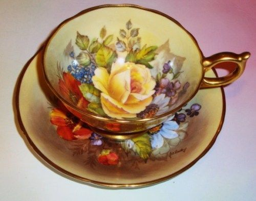 Painted J A Bailey Gold Floral Aynsley Tea Cup and Saucer Set