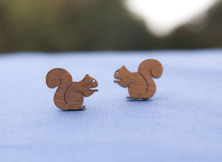 Squirrel studs made from recycled cedar venetian blinds - $15