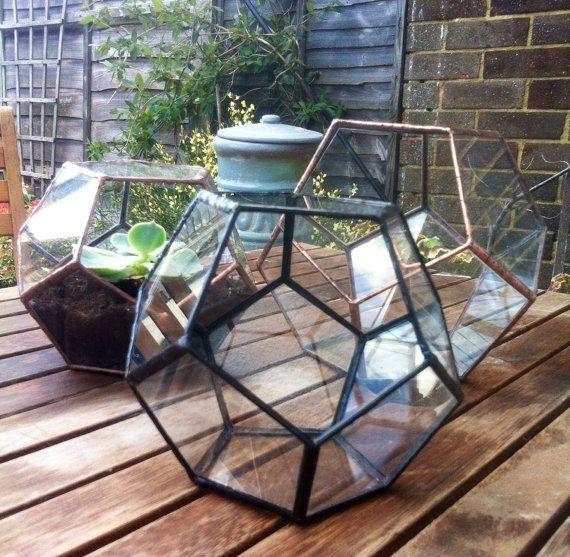 Glass terrarium, pentagon, glass container, geometric garden planter, polyhedron, indoor greenhouse, wedding decoration, glass display box