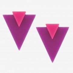 Pembe Mor Üçgen Küpe  - #tasarim #tarz #mor #rengi #moda #hediye #ozel #nishmoda #purple #colored #design #designer #fashion #trend #gift