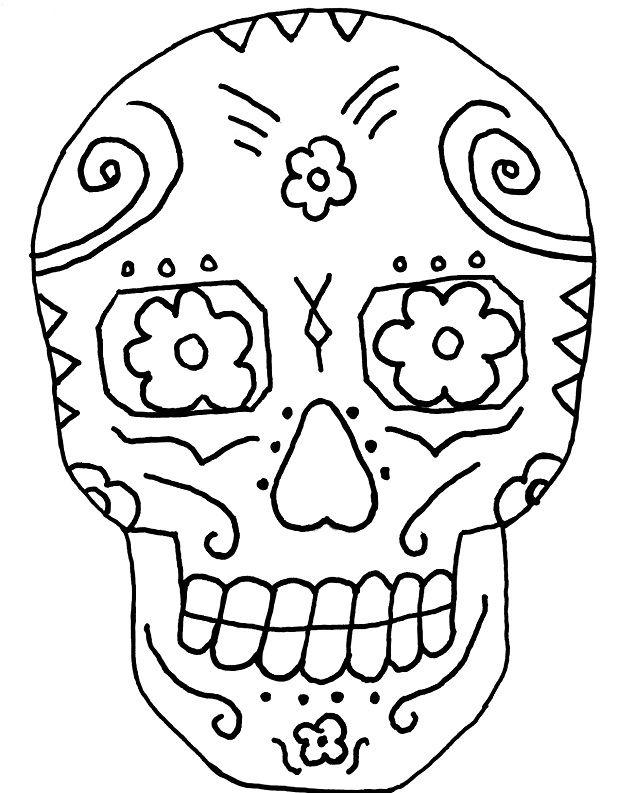 sugar skull printable coloring pages of skulls - Simple Sugar Skull Coloring Pages