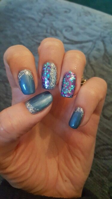 Blue with glitter