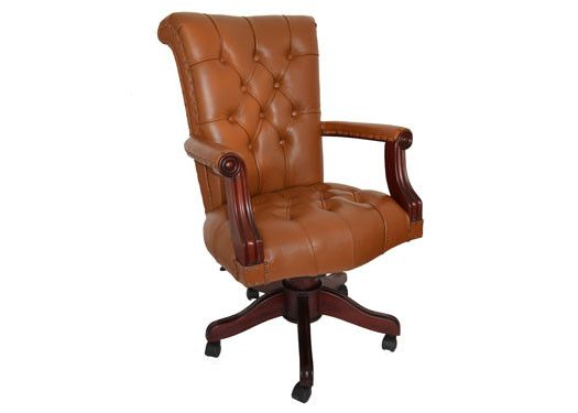 regal tan leather office chair with wood trim
