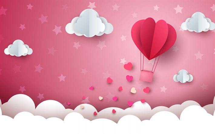 Download wallpapers Valentines Day, origami landscape, rendering, romantic concepts, clouds