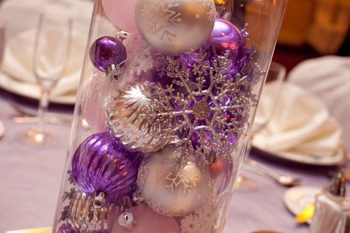 Purple Silver White Centerpieces Indoor Reception Winter Wedding Reception Photos & Pictures - WeddingWire.com