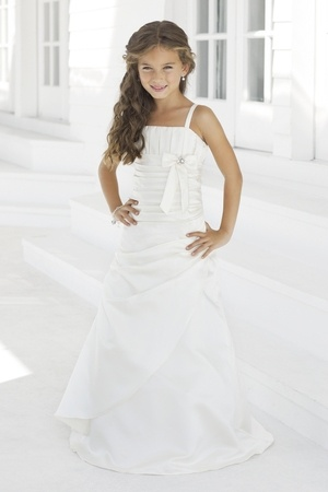 Satin A-line,Bow Style 28 Junior Bridesmaid Dress by Alexia Designs