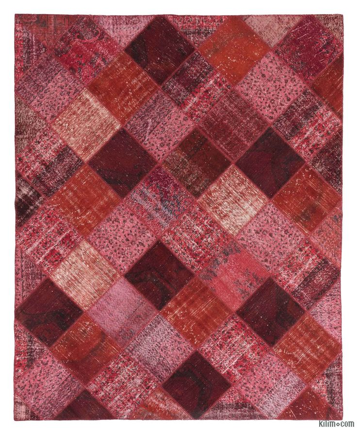 K0020236 Red, Pink Over Dyed Turkish Patchwork Rug | Kilim Rugs, Overdyed  Vintage