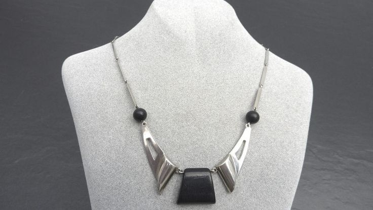 Rare Art Deco  necklace Jakob Bengel chromed with black galalith #JakobBengel #CollarCollierHalskette