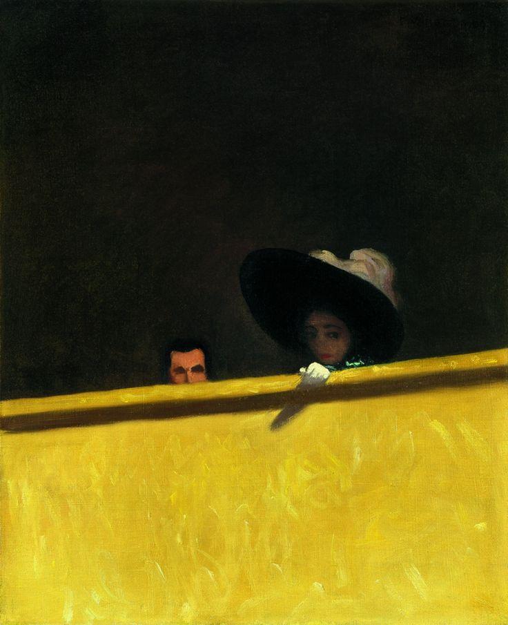 On se trouve ici dans une loge de théâtre, comme le titre l'indique, et Vallotton explore de nouveau le thème du couple, omniprésent dans son œuvre. «La simplicité, le graphisme de cette toile sont très caractéristiques de l'œuvre de Vallotton. Cet homme et cette femme sont ensemble, mais ont l'air absents l'un à l'autre. Le monsieur est cruellement coupé et la dame partiellement d...