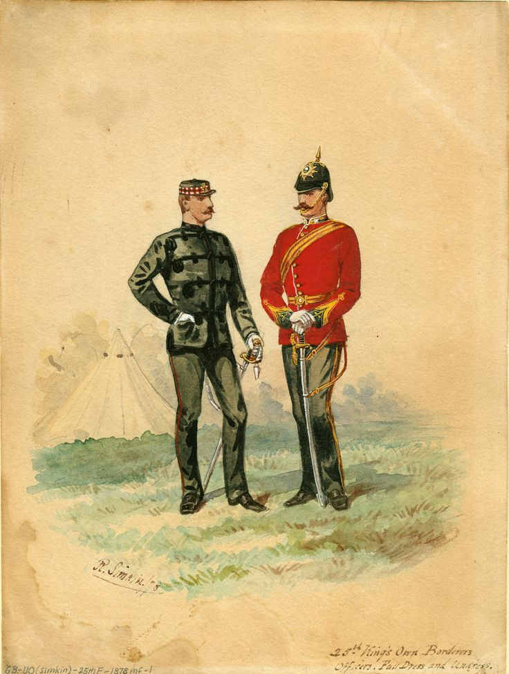 British; 25th King's Own Borderers, Officers Undress and Full Dress c.1880 by R.Simkin(Note the title was to be changed in 1887 to King's Own Scottish Borderers).