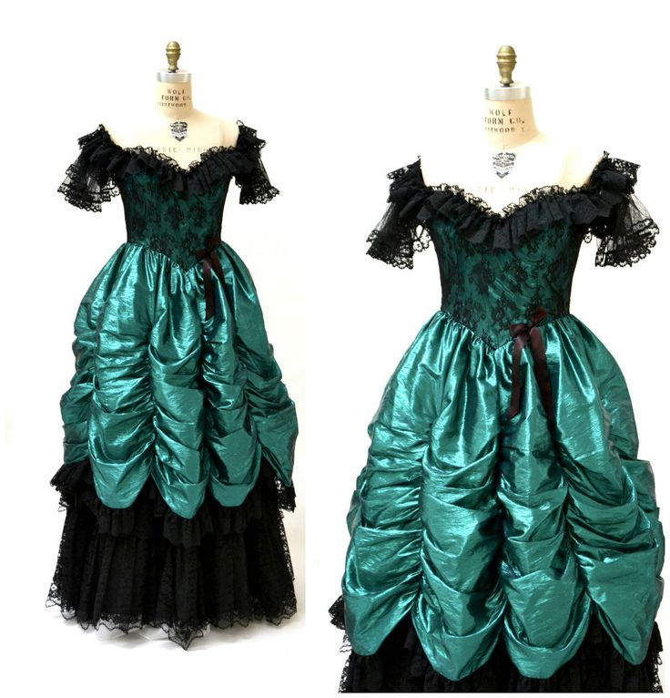 Vintage 80s Prom Dress XXS XS Metallic Green Black// 80s Metallic Party Dress Green Black Lace Southern Bell Pageant Loralie by Hookedonhoney on Etsy