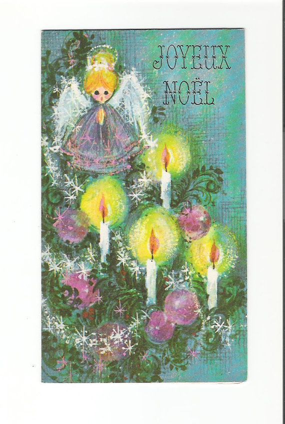 French Christmas Card - Violet angel and ornaments, c.1960s...