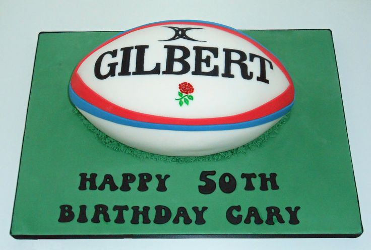 Hand Painted Gilbert Rugby Ball Cake by The Coloured Bubble Cakery - Find us on Facebook!!