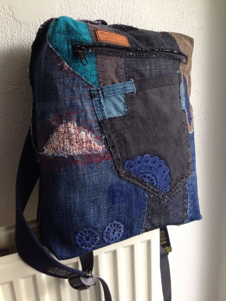 Antwerpen patchwork backpack, upcycled denim backpack, soft cotton straps, zipper closing, 3 pockets. by HelenBudniatsky on Etsy https://www.etsy.com/listing/469694433/antwerpen-patchwork-backpack-upcycled