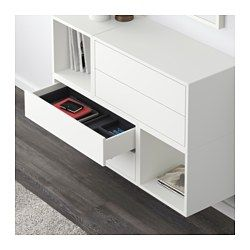 IKEA - EKET, Schrankkombination für Wandmontage, weiß, , Durch Kombination von offener und geschlossener Aufbewahrung lässt sich Dekoratives und Nützliches nach Bedarf zeigen oder verbergen.Durch die integrierten Drucköffner sind Knöpfe oder Griffe überflüssig – leichter Druck genügt zum Öffnen/Schließen der Schubladen.