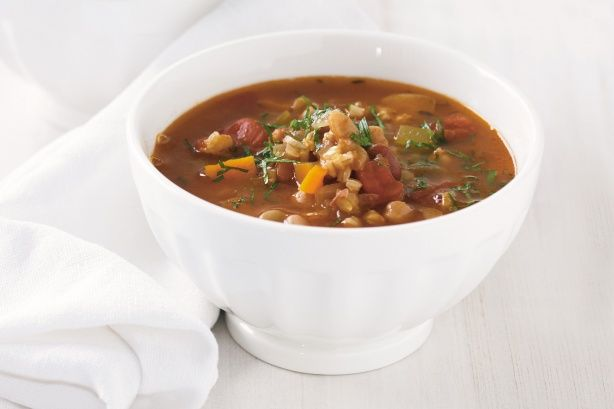 This hearty bean soup is filling enough to be a main course all on it's own.