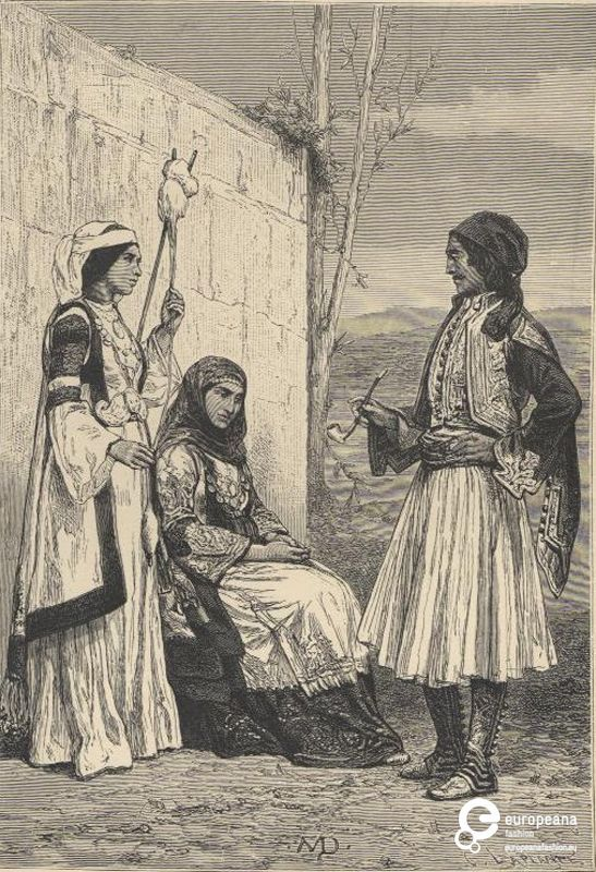 "Engraving Black and white sketch of two women with costumes from Attica, Greece and a man in fustanela costume. Inscriptions: ""SND"", ""J(;). LAPLANTE"", ""PEASANTS FROM THE ENVIRONS OF ATHENS"".1883. From ""The Earth and its Inhabitants: Europe (Volume 1)"", Reclus Elisee, ed. D. Appleton and Comapny"" edition.Institution: Peloponnesian Folklore Foundation Provider: Europeana Fashion"