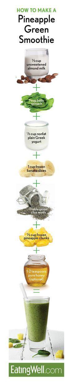 PINEAPPLE GREEN SMOOTHIE: almond milk, spinach, unsweetened yogurt, banana, pineapple, chia seeds, honey / maple syrup
