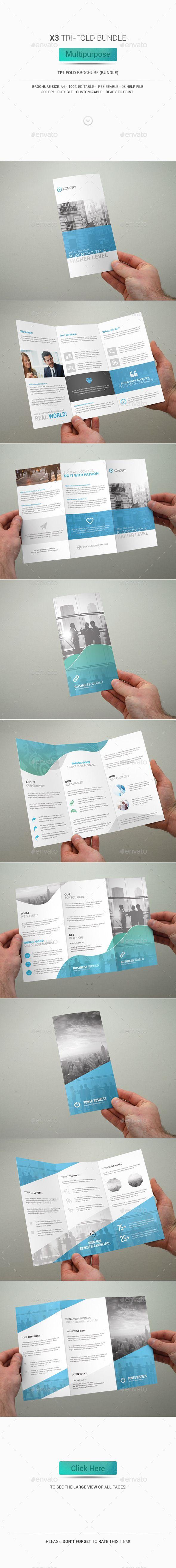 3 Tri-Fold Brochure Bundle - Multipurpose - Corporate Brochure Template PSD. Download here: http://graphicriver.net/item/3-trifold-brochure-bundle-multipurpose/12838668?s_rank=1774&ref=yinkira