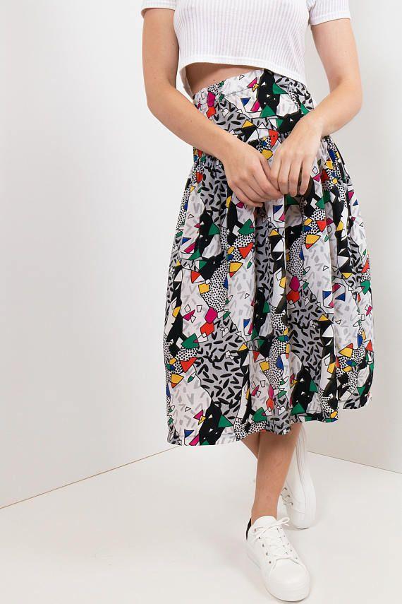 80s Vintage Geometric Print Skirt / Drop-waist Tiered
