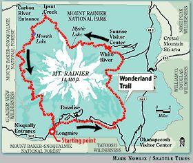 WONDERLAND TRAIL:  93 miles, 9 days around Mount Rainer.