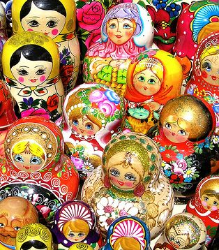 Russian dolls..  so colorful and cute.  I had one that was multiple sized dolls hidden inside each other.  I'm not sure if all are like that or not.