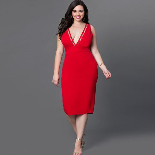 Mid-calf length plus size dresses