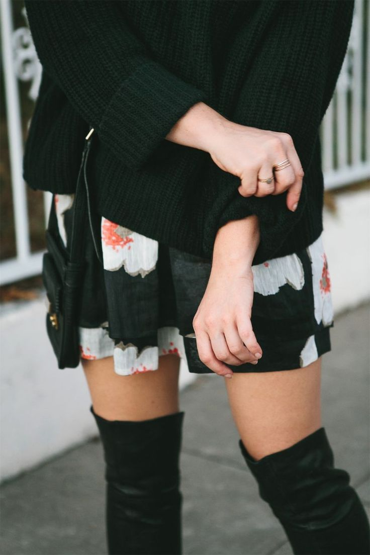 cozy sweater and over-the-knee boots
