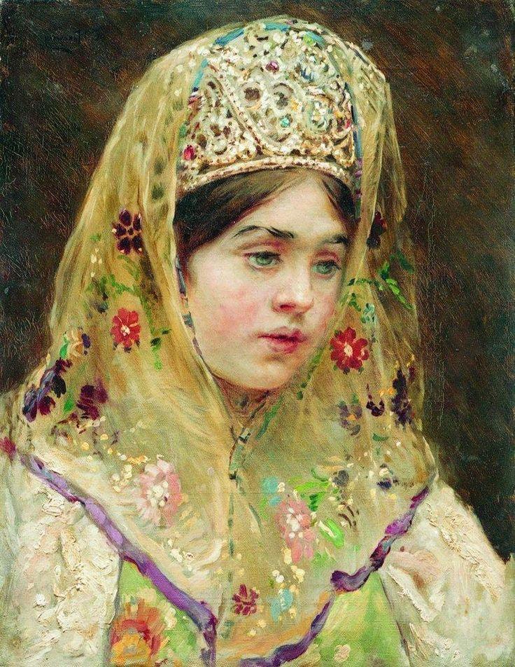 Portrait of the Girl in a Russian Dress - Konstantin Makovsky