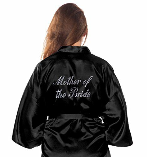 """Satin Kimono Rhinestone """"Mother of the Bride"""" Robe (Small/Medium, Black) * Read more reviews of the product by visiting the link on the image."""