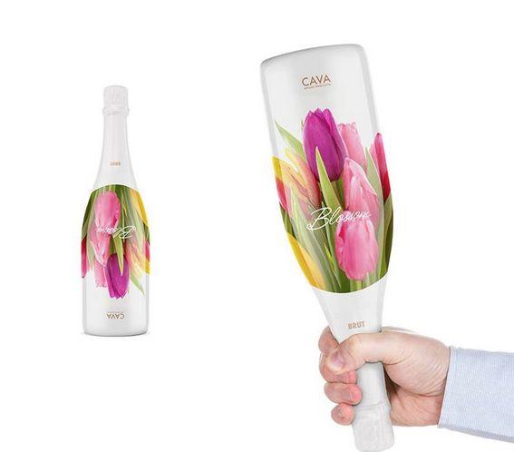 Diseño de botella de champagne simulando un ramo de flores para celebrar con tu pareja - Despacho Creativo #empaque