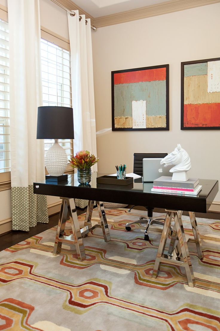 rugs for home office. home office with black lacquer desk top and brass sawhorse legs as a base modern area rug colors coordinate artwork on the walls rugs for