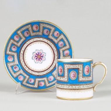 A Soft-Paste Sèvres Porcelain Cup and Saucer, 1786