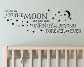 Nous vous aimons à la lune et retour à nouveau vers l'infini et au-delà pour toujours et à jamais vinyle autocollant Sticker décoration murale