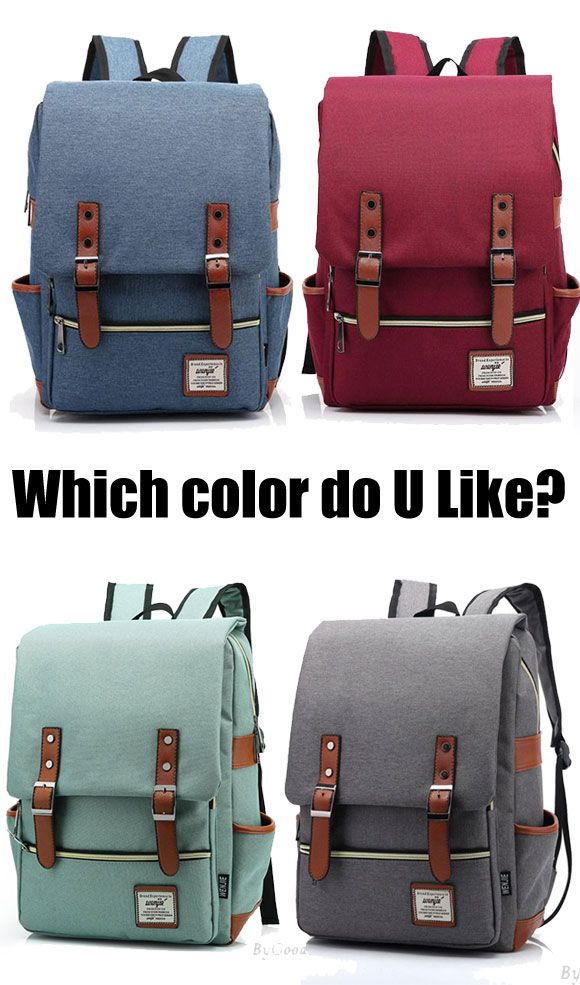 Which color do you like? Vintage Travel Backpack Leisure Canvas With Leather Backpack&Schoolbag for big sale ! #backpack #rucksack #leisure #bag #canvas #school #college