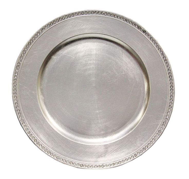 silver chargers WITH RHINESTONE LINING! - bling banding wouldn't be necessary as linen napkin can be placed under charger and draped down table.
