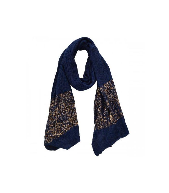 Blauwe sjaal met goudglans | Afmetingen circa 200 cm. bij 50 cm | Mooie blauwe lange sjaal