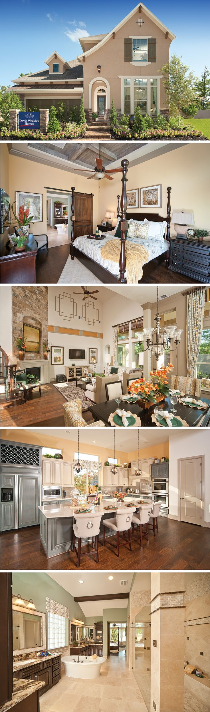 The Emory by David Weekley Homes in Grogan's Mill is a 4 bedroom, 4 bathroom home that features an open kitchen and family layout, a classic spiral staircase and a private covered porch.