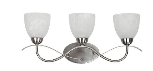 Chloe Lighting CH0195-BN-BL3 Transitional 3-Light Brushed Nickel Bath Vanity Wall Fixture with 22.5-Inch Wide Alabaster Glass Amazon Prime $80.99